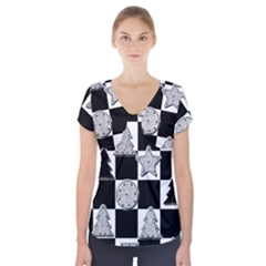 Xmas Checker Short Sleeve Front Detail Top