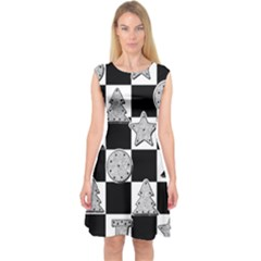 Xmas Checker Capsleeve Midi Dress