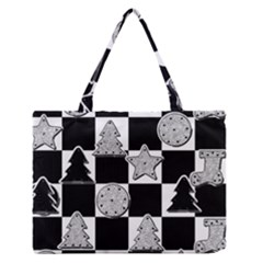 Xmas Checker Medium Zipper Tote Bag