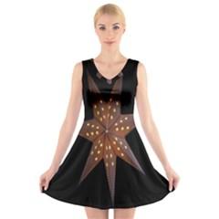 Star Light Decoration Atmosphere V Neck Sleeveless Skater Dress