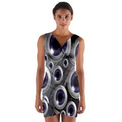 Eyeballs Pattern Wrap Front Bodycon Dress