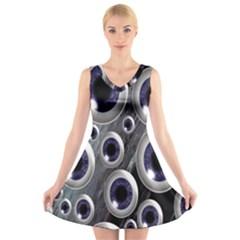 Eyeballs Pattern V Neck Sleeveless Skater Dress
