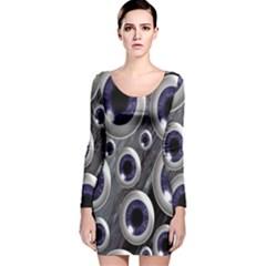 Eyeballs Pattern Long Sleeve Velvet Bodycon Dress