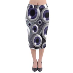 Eyeballs Pattern Midi Pencil Skirt