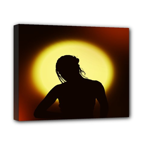 Silhouette Woman Meditation Canvas 10  X 8