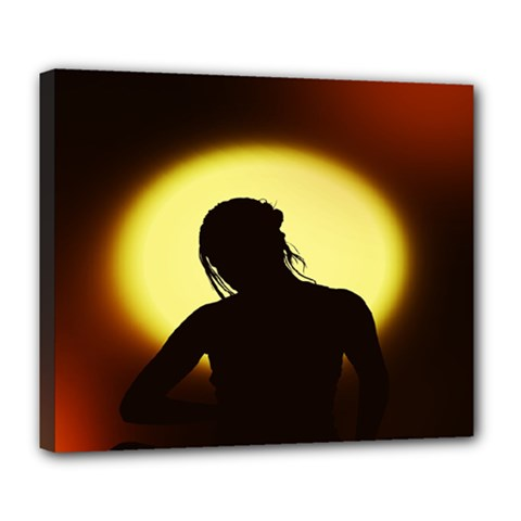 Silhouette Woman Meditation Deluxe Canvas 24  x 20