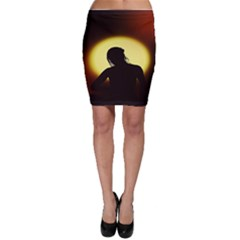 Silhouette Woman Meditation Bodycon Skirt