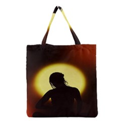 Silhouette Woman Meditation Grocery Tote Bag