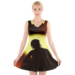 Silhouette Woman Meditation V Neck Sleeveless Skater Dress
