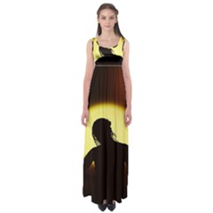 Silhouette Woman Meditation Empire Waist Maxi Dress