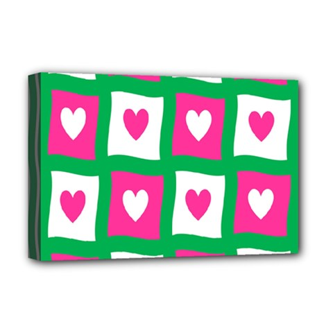 Pink Hearts Valentine Love Checks Deluxe Canvas 18  x 12