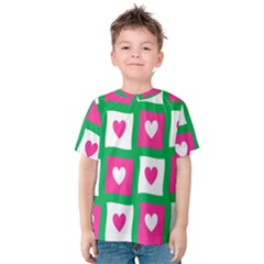 Pink Hearts Valentine Love Checks Kids  Cotton Tee