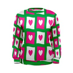 Pink Hearts Valentine Love Checks Women s Sweatshirt