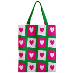 Pink Hearts Valentine Love Checks Zipper Classic Tote Bag