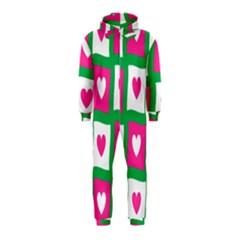 Pink Hearts Valentine Love Checks Hooded Jumpsuit (Kids)