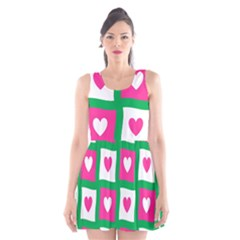 Pink Hearts Valentine Love Checks Scoop Neck Skater Dress