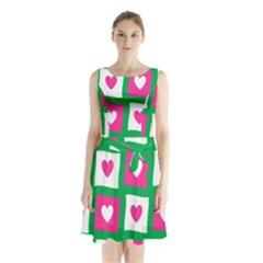 Pink Hearts Valentine Love Checks Sleeveless Chiffon Waist Tie Dress