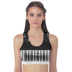 Piano Keyboard With Notes Vector Sports Bra