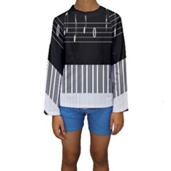 Piano Keyboard With Notes Vector Kids  Long Sleeve Swimwear