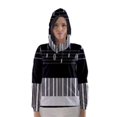 Piano Keyboard With Notes Vector Hooded Wind Breaker (Women)