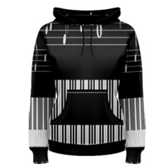 Piano Keyboard With Notes Vector Women s Pullover Hoodie
