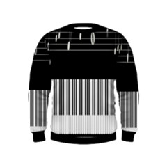 Piano Keyboard With Notes Vector Kids  Sweatshirt