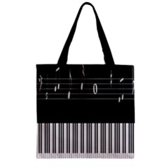 Piano Keyboard With Notes Vector Zipper Grocery Tote Bag