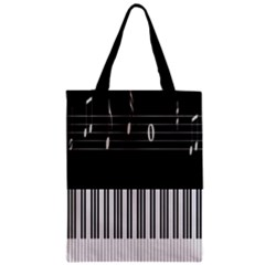 Piano Keyboard With Notes Vector Zipper Classic Tote Bag