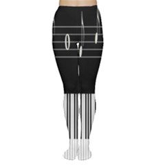Piano Keyboard With Notes Vector Women s Tights