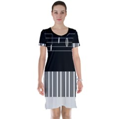 Piano Keyboard With Notes Vector Short Sleeve Nightdress