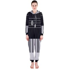 Piano Keyboard With Notes Vector Hooded Jumpsuit (Ladies)