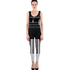 Piano Keyboard With Notes Vector Onepiece Catsuit