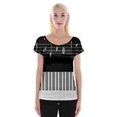 Piano Keyboard With Notes Vector Women s Cap Sleeve Top