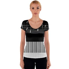 Piano Keyboard With Notes Vector Women s V-Neck Cap Sleeve Top