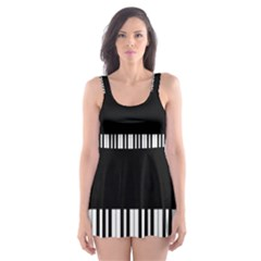 Piano Keyboard With Notes Vector Skater Dress Swimsuit