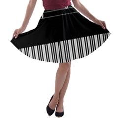 Piano Keyboard With Notes Vector A-line Skater Skirt