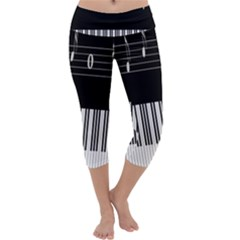 Piano Keyboard With Notes Vector Capri Yoga Leggings