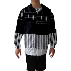 Piano Keyboard With Notes Vector Hooded Wind Breaker (Kids)