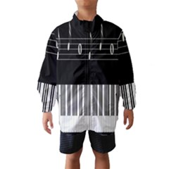 Piano Keyboard With Notes Vector Wind Breaker (kids)