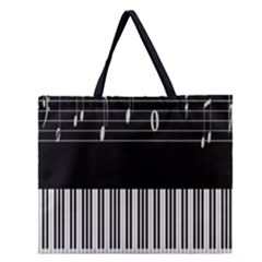 Piano Keyboard With Notes Vector Zipper Large Tote Bag