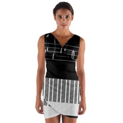 Piano Keyboard With Notes Vector Wrap Front Bodycon Dress