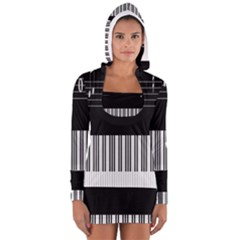 Piano Keyboard With Notes Vector Women s Long Sleeve Hooded T-shirt