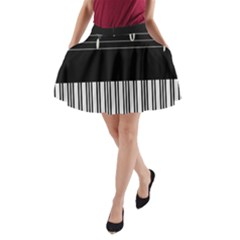 Piano Keyboard With Notes Vector A Line Pocket Skirt