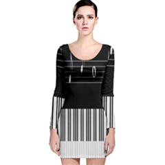 Piano Keyboard With Notes Vector Long Sleeve Velvet Bodycon Dress