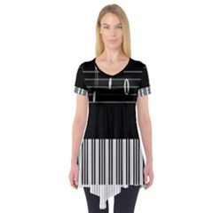 Piano Keyboard With Notes Vector Short Sleeve Tunic