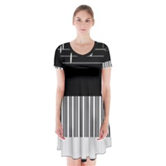 Piano Keyboard With Notes Vector Short Sleeve V-neck Flare Dress