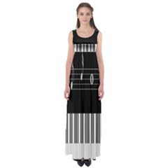 Piano Keyboard With Notes Vector Empire Waist Maxi Dress