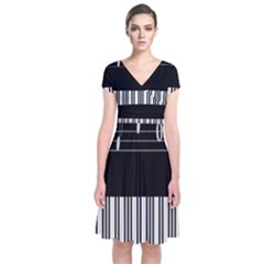 Piano Keyboard With Notes Vector Short Sleeve Front Wrap Dress