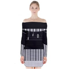 Piano Keyboard With Notes Vector Long Sleeve Off Shoulder Dress