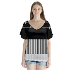 Piano Keyboard With Notes Vector Flutter Sleeve Top